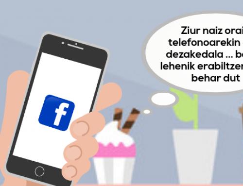 Kontxik  Facebook  erabiltzen  ikasten  du  bere  Smartphonean