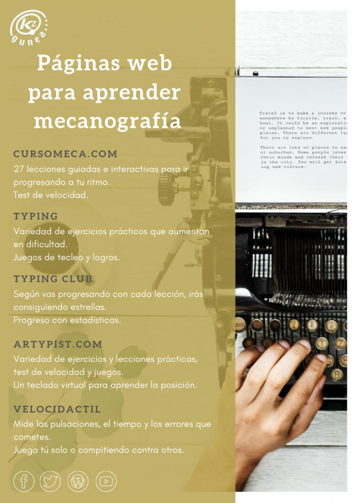 Páginas web para aprender mecanografía